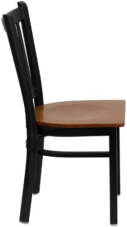 Flash Furniture HERCULES Series Black Vertical Back Metal Restaurant Chair – Cherry Wood Seat