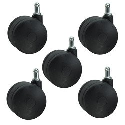 Large Heavy Duty Office Chair Casters 3 Nylon Twin Wheel - Ideal for Carpet Set of 5 Service Caster