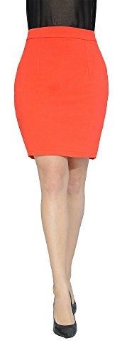 Marycrafts Women's Above Knee Short Mini Pencil Skirt M Orange (Ponte Mini)