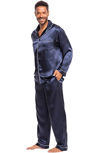 Alexander Del Rossa Men's Button Down Satin Pajama Set with Sleep Mask, Long Silky Pjs, XL Deep Navy Blue (A0752MBLXL) ()