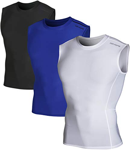 DEVOPS Men's 3 Pack Cool Dry Athletic Compression Baselayer Workout Sleeveless Shirts (X-Large, Black-Blue-White)