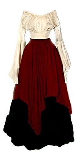 Renaissance Peasant Costume 3 pc Set (Cranberry)