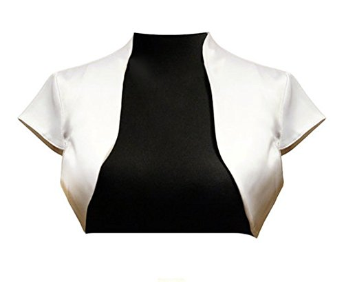 Dobelove Women's Short Sleeves Satin Bolero Buttonless Cardigan Blazer (L, Ivory) - Satin Wedding Bridal Bolero