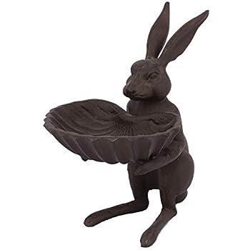 Amazon.com: Envejecido blanco conejo de hierro fundido con ...