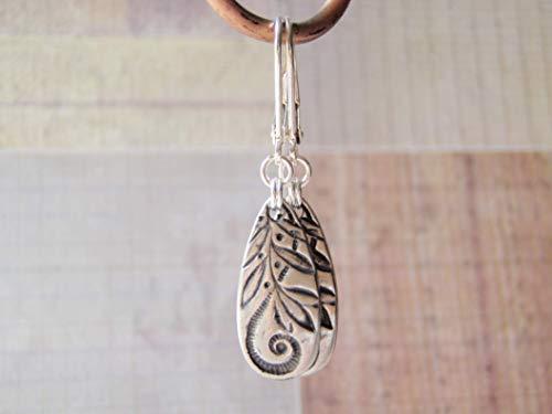 Tierracast Drops Charms - Silver Teardrop Earrings Sterling Silver Ear Wires Tierracast Jardin Pewter Charm