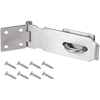 4 in. Right Angled, 2 Sets Zeltauto Safety Padlock Hasp Security Door Lock Anti-Rust Stainless Steel
