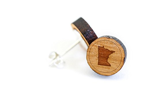 Price comparison product image WOODEN ACCESSORIES COMPANY Wooden Stud Earrings With Minnesota Laser Engraved Design - Premium American Cherry Wood Hiker Earrings - 1 cm Diameter