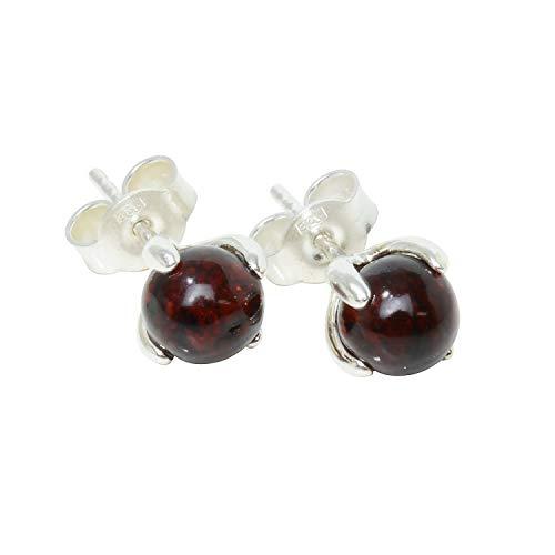 Sterling Silver and Baltic Dark Cherry Amber Earrings Sadie
