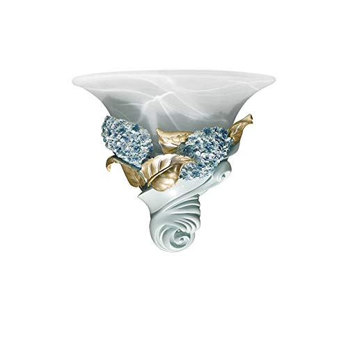 - SUNSHIN Floral Wall Light Classic Style Brass Metal White Glass
