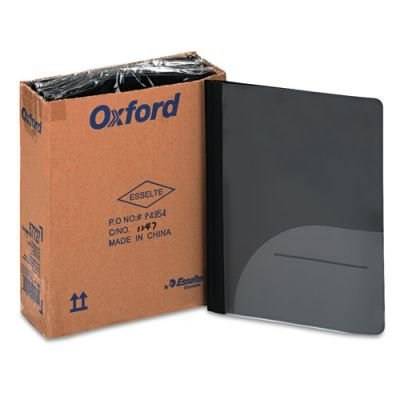 Oxford Report Cover, CD pocket, Tang Clip, Letter 1/2 Capacity, Black, 25/Box by Reg