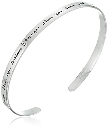 "Sterling Silver ""You are braver than you believe..."" Cuff Bracelet, 7"""