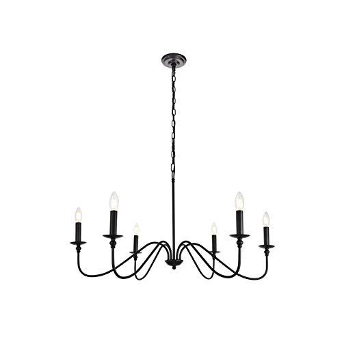 - Elegant Lighting Rohan Collection Chandelier D36 H19 Lt:6 Matte Black Finish
