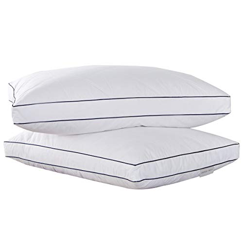 PEACE NEST Down Pillow Set of 2, Goose Feather and Down Gusset Pillows, Rhombic Quilted, 100% Cotton Cover, Standard/Queen Size