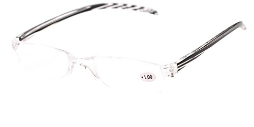 Rimless Reading Glasses - SOOLALA 3-Pair Value Pack Lightweight Striped Integrated PC Magnifying Reading Glass, 3Black, 1.5D