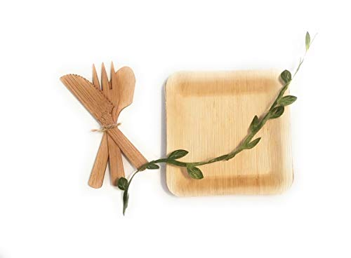 Bamboo Appetizer Plates & Utensils, Disposable, Eco Friendly, Compostable 3.5 inch Small & Small Appetizer Cutlery, Utensils, Dinnerware - 24 Plates & 24 Sets of Utensils (Fork, Spoon & Knife) by Good Morning Sunshine! L.L.C.