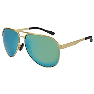 Aoron Polarized Aviator Sunglasses with Flat Stainless Metal Frame