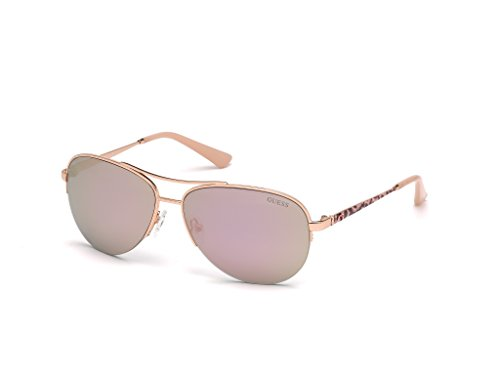 (GUESS Women's Gu7468 Aviator Sunglasses, Shiny Rose Gold and Smoke Mirror, 59 mm)