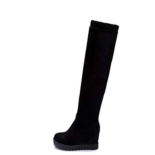 negro MENGLTX Sandalias Tacones Altos Tamaño Grande 34-43 Diseño De Marca Sexualmente sobre Las botas De Rodilla plataforma Gruesa Suela Delgada Larga Otoño Invierno X25-26