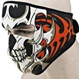 (ETbotu 2 in 1 Reversible Windproof Black Tribal Classic Skull Neoprene Half Face Mask Facemask Headwear Motorcycle ATV Biker Bike Cycling )