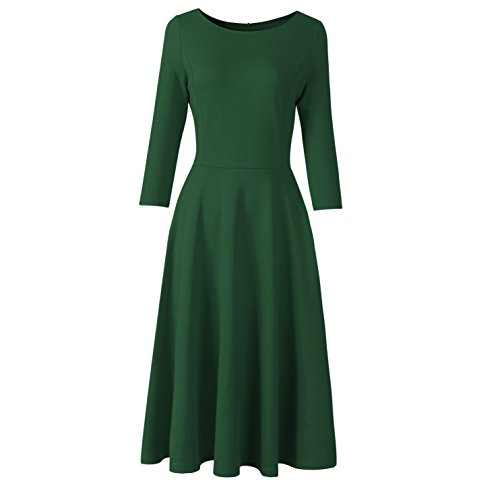 Costyleen Women's 1950s Hepburn Classy Vintage 3/4 Sleeve Bridesmaid Party Swing Dress Dark Green S