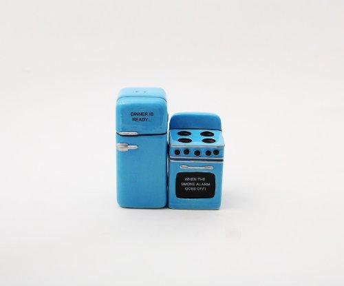 Retro Ceramic - Retro Fridge and Stove Dinner is Ready Magnetic Ceramic Salt and Pepper Shakers