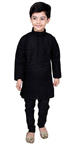 Desi Sarees - Boys Indian Bollywood sherwani kids children kurta churidar shalwar kameez Black 844 (4 (4 yrs), Black) (Kameez Trouser)