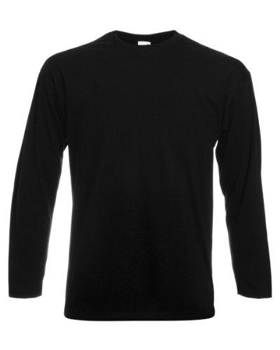 Fruit Of The Loom Herren Langarm T-Shirt mit Rundhalsausschnitt (XL) (Schwarz) XL,Schwarz