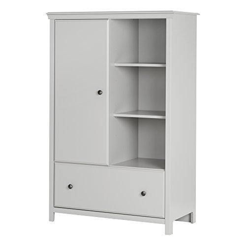 Cotton Armoire - South Shore Cotton Candy Armoire with Drawer, Soft Gray