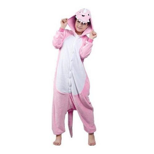 事前に栄養スクレーパーMengshufen - Pink Dinosaur Animal Style Flannel Jumpsuit Pyjamas M / Pink