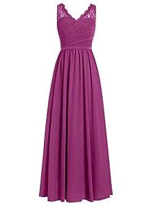 DRESSTELLS Long Bridesmaid Dress V-Neck Chiffon Prom Dress Lace Evening Dress