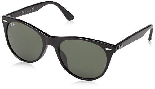 Ray-Ban RB2185F Wayfarer II Asian Fit Sunglasses, Black/Green, 55 ()