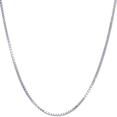 14K Solid Gold 1.1 mm Italian Diamond Cut Box Chain Necklace Thin Lightweight Strong with Lobster Claw Clasp - FREE Gift w/Order (1.1 MM 16 Inches 14K White Gold ITALY) ()