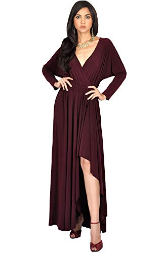 KOH KOH Petite Womens Long Sleeve Sleeves Wrap Slit Split Formal Fall Winter Cocktail Sexy Flowy Evening Day Abaya Gown Gowns Maxi Dress Dresses, Maroon Wine Red S 4-6