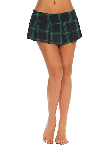 Loveje Women Sexy Lingerie Mini Skirt Cosplay Roleplay Uniform Solid Pleated Skirt (L, Green)