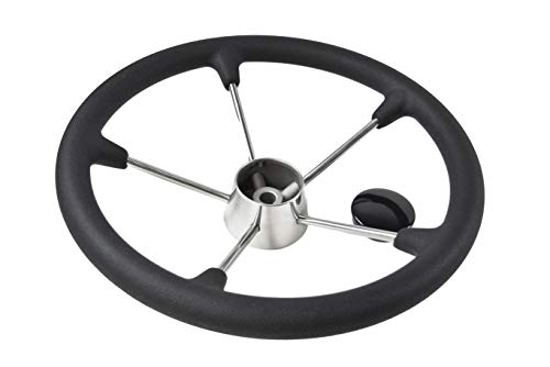 Marine City 15-1/2 Inches Boat Stainless Steel Steering Wheel with Black Foam Grip (Diameter: 15-1/2 Inches) ()