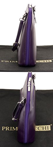 Sacchi Small Storage Branded Primo Bag Body Shoulder Italian Cross Bag Purple Smooth a Includes Leather Handbag pTdxIOqd