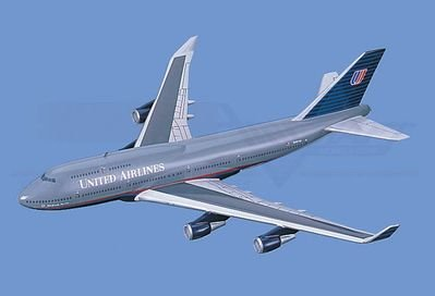 Boeing 747-400, United Airlines Aircraft Model Mahogany Display Model / Toy. Scale: 1/75
