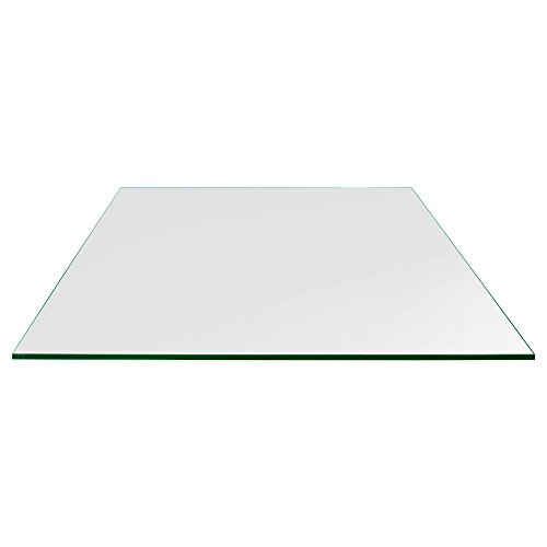 Rectangle Glass Table Top Custom Annealed Clear Tempered Thick Glass With Flat Polished Edge & Eased Corner For Dining Table, Coffee Table, Home & Office Use - 36'' L x 48'' W by TroySys (Corner Desk Custom)