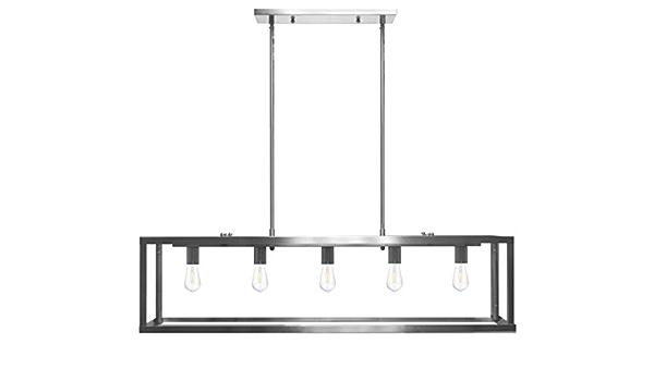 bar Lighting Dining Table Chandelier Pool Table Light Hanging Fixture Nickel Finish 5-Light 42 Long Island Pendant Rectangle Linear.