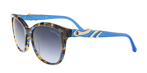 (Roberto Cavalli RC877S/S 55W KRAZ Blue/Brown Square Sunglasses for Womens)