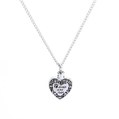 "- Gbell Clearance! Romantic Retro Necklace Charm - ""Always in My Heart"" Puppy Dog Footprint Ashes Memorial Necklace Chain for Men Women (Silver)"