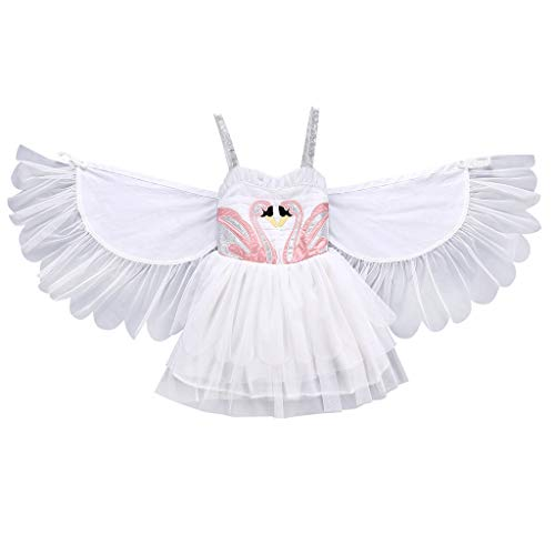 (YOUNGER TREE Baby Kids Girl Winged Sleeveless Princess Dress Party Skirts Costume Clothes (4-5 Years, White Winged Tulle Tutu Dress))