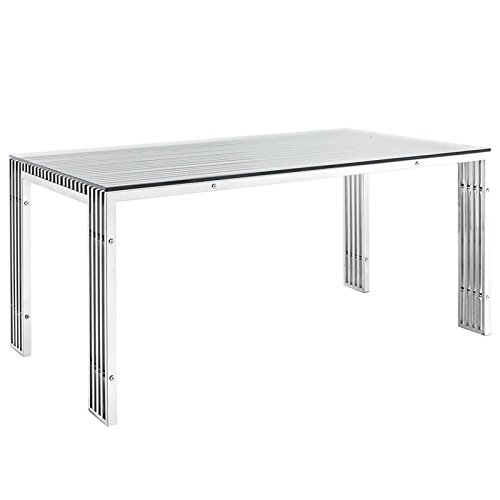 Modway Gridiron Stainless Steel Dining Table in Silver by Modway