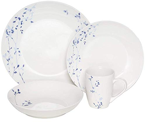 Melange Coupe 16 Piece Porcelain Dinner Set (Indigo Garden)| Service for 4 | Microwave, Dishwasher & Oven Safe | Dinner Plate, Salad Plate, Soup Bowl & Mug (4 Each) ()