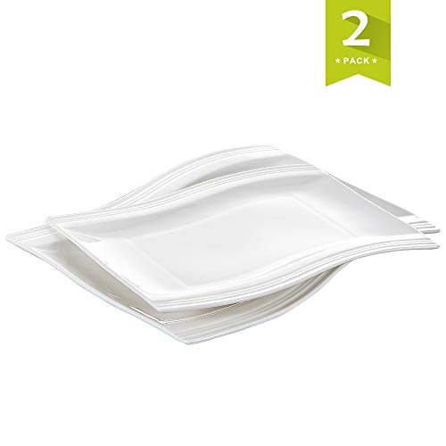 Malacasa 2 Piece Series Flora, Porcelain Large Serving Platters Tray with Rectangular Plate, Ivory White
