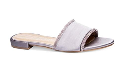 Chinese Laundry Womens Pretty Satin Open Toe Casual Slide, Silver, Size 7.0