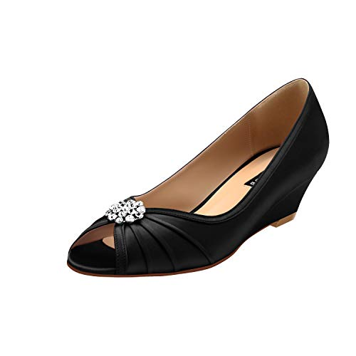 - ERIJUNOR E2019A Women Comfortable Low Heel Wedges Peep Toe Wedding Shoes Black Size 10