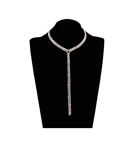 LIAO Jewelry 3 Row Rhinestone Choker Necklace Crystal Tassel Wide Collar Necklaces Gothic Diamond Charms for Women Girls (Gold) (3 Row Necklace)