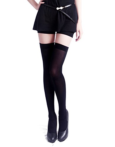 HDE Women's Stockings Over the Knee Opaque Tights Thigh High Nylon Socks Black One Size