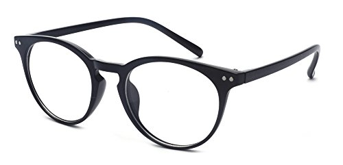 (Outray Vintage Inspired Small Nails Round Clear Lens Glasses 2169c1 Black)